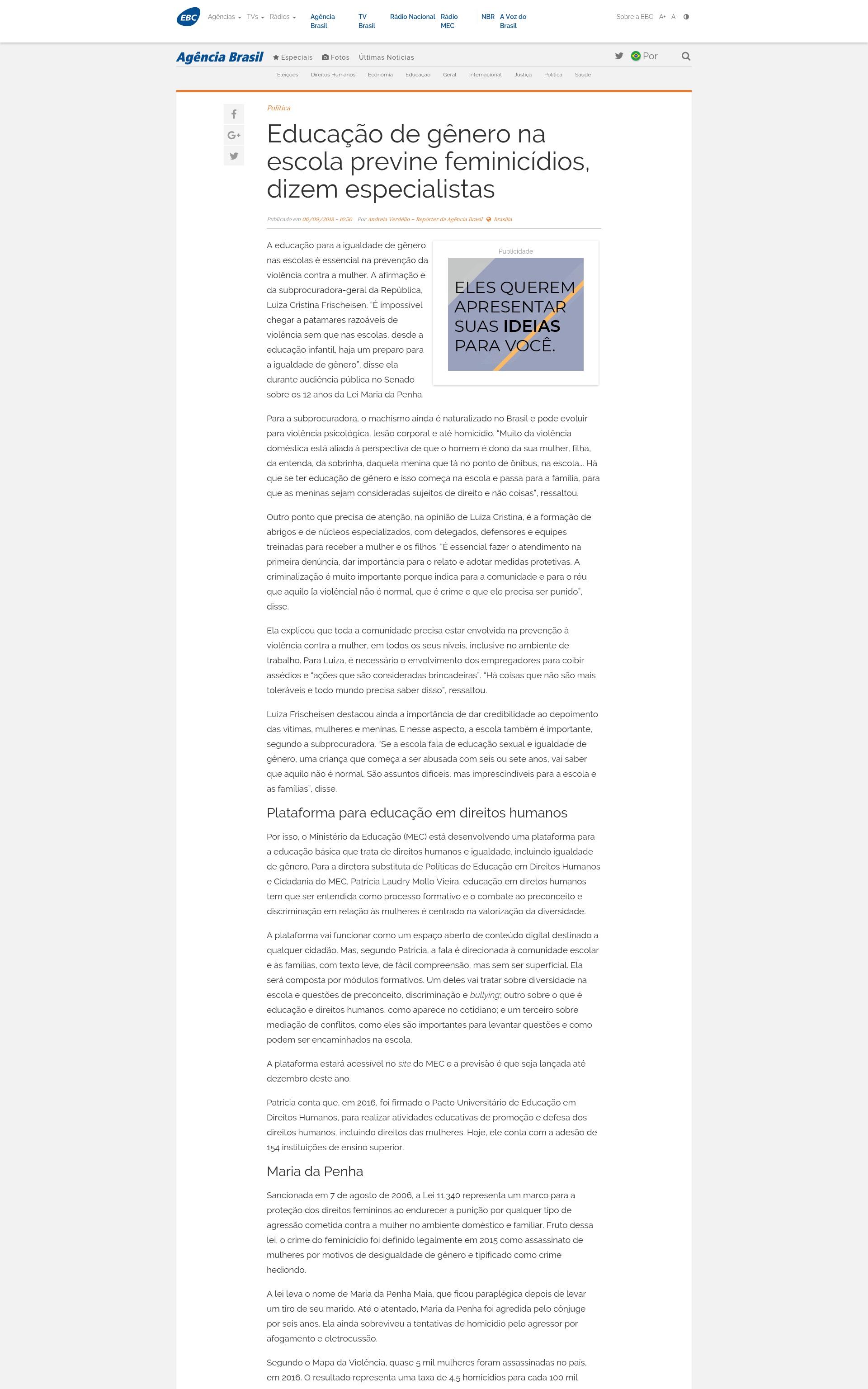 2cefd7735 Agência Brasil - Educação de gênero na escola previne feminicídios
