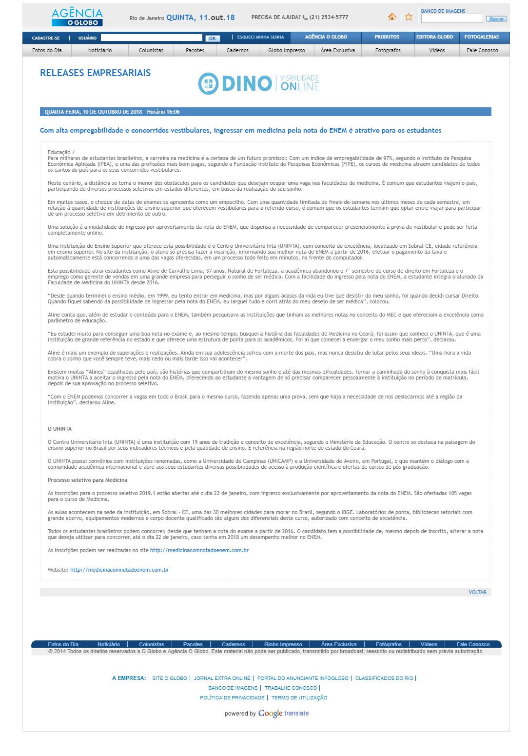 c8c17504a AGÊNCIA O GLOBO + 10 PORTAIS - Com alta empregabilidade e concorridos  vestibulares